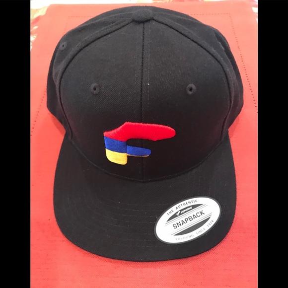 Flat front black cap